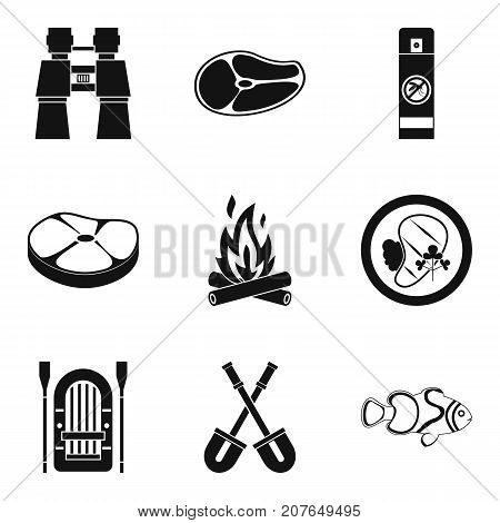 Roasted meat icons set. Simple set of 9 roasted meat vector icons for web isolated on white background