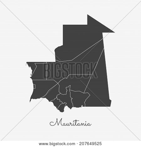 Mauritania Region Map: Grey Outline On White Background. Detailed Map Of Mauritania Regions. Vector