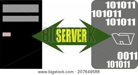 Data server file transfer concept isolated flat vector. Data Server word text logo Illustration. Transparent.