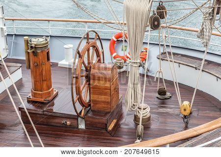 Steering wheel for the captain on an old sailboat. Sines Portugal