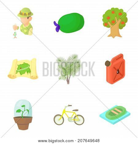 Observing the nature icons set. Cartoon set of 9 observing the nature vector icons for web isolated on white background