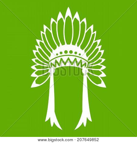 Indian headdress icon white isolated on green background. Vector illustration