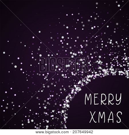 Merry Xmas Greeting Card. Amazing Falling Snow Background. Amazing Falling Snow On Deep Purple Backg