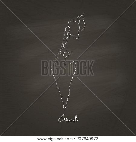 Israel Region Map: Hand Drawn With White Chalk On School Blackboard Texture. Detailed Map Of Israel