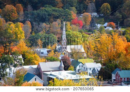 Aerial view of South Royalton Vermont  in autumn time