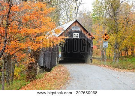 Historic covered bridge in rural Vermont