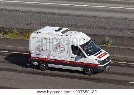 Frankfurt Germany - Sep 19 2017: Volkswagen Crafter refrigerated meat transporter van on the highway in Germany