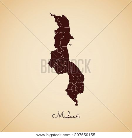 Malawi Region Map: Retro Style Brown Outline On Old Paper Background. Detailed Map Of Malawi Regions