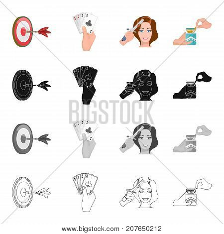 Game, darts, hand, and other  icon in cartoon style.Health, attributes, hobby icons in set collection