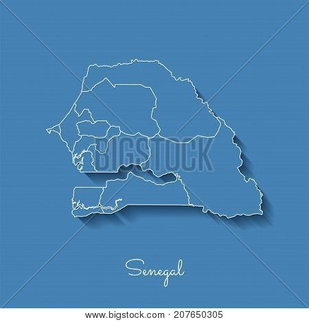 Senegal Region Map: Blue With White Outline And Shadow On Blue Background. Detailed Map Of Senegal R