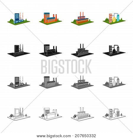 Enterprises, organization, company, and other  icon in cartoon style.Architecture, manufactory, plant icons in set collection