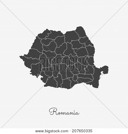 Romania Region Map: Grey Outline On White Background. Detailed Map Of Romania Regions. Vector Illust