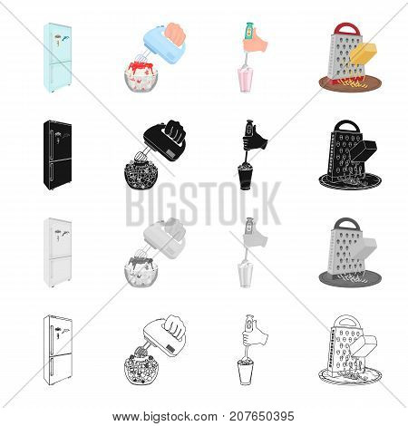Refrigerator for food, mixer for cooking, blender, grater and cheese. Cooking food set collection icons in cartoon black monochrome outline style vector symbol stock isometric illustration .