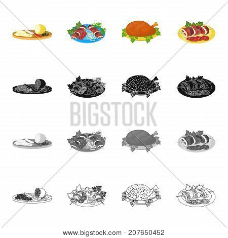 Sliced lemon, shish kebab, tasty food, fried chicken, shish kebab with vegetables. Food and Cooking set collection icons in cartoon black monochrome outline style vector symbol stock illustration isometric .