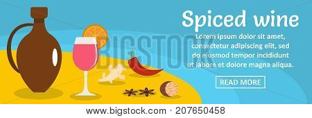 Spiced wine banner horizontal concept. Flat illustration of spiced wine banner horizontal vector concept for web design