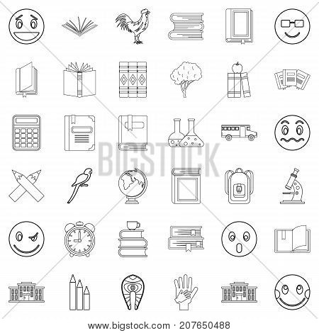 Surprised icons set. Outline style of 36 surprised vector icons for web isolated on white background