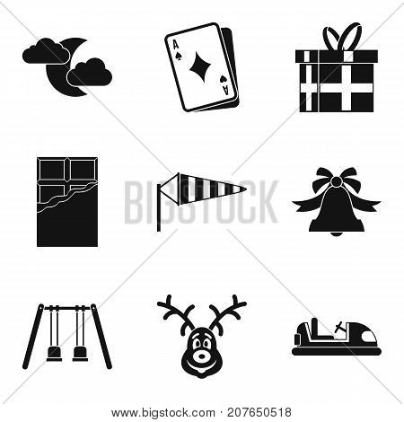 Great gift icons set. Simple set of 9 great gift vector icons for web isolated on white background