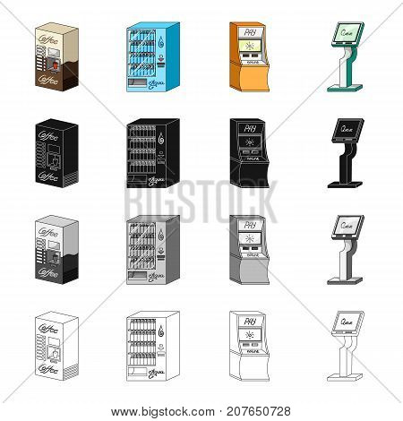 Coffee machine, water dispenser, payment terminal, ticket machine. Different types of terminal set collection icons in cartoon black monochrome outline style isometric vector symbol stock illustration .
