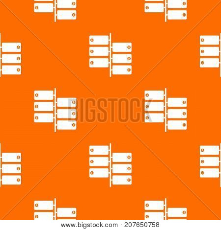Infographic blocks on signpost pattern repeat seamless in orange color for any design. Vector geometric illustration