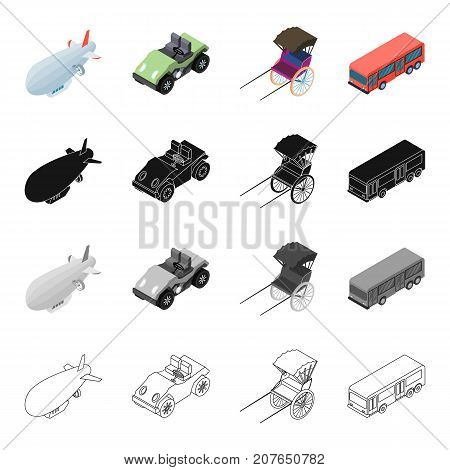 Air transport, airship, golf cart, rickshaw, bus. Transport set collection icons in cartoon black monochrome outline style vector symbol stock illustration isometric .