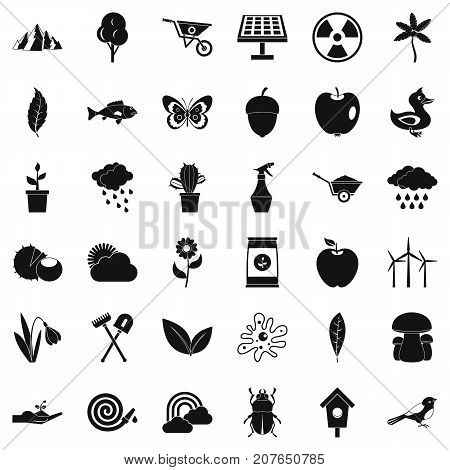 Grass icons set. Simple style of 36 grass vector icons for web isolated on white background