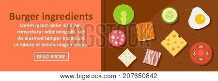 Burger ingredients banner horizontal concept. Flat illustration of burger ingredients banner horizontal vector concept for web design