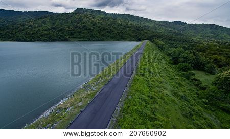 aerial view of nong preau water reservoir dam nakorn nayok outskirt of bangkok thailand