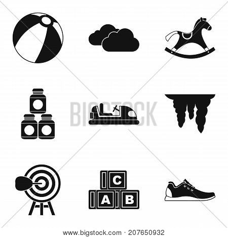 Playful children icons set. Simple set of 9 playful children vector icons for web isolated on white background
