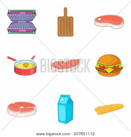 Meat for sandwich icons set. Cartoon set of 9 meat for sandwich vector icons for web isolated on white background