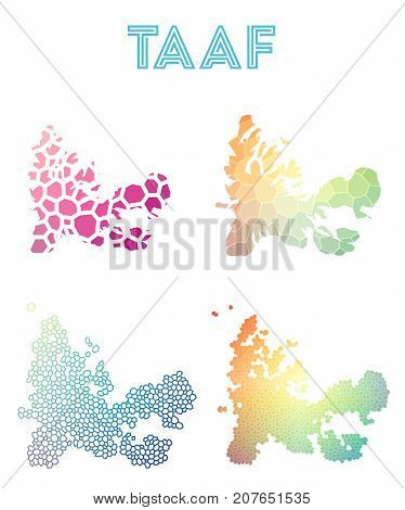 Taaf Polygonal Map. Mosaic Style Maps Collection. Bright Abstract Tessellation, Geometric, Low Poly,