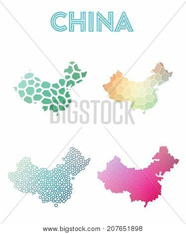 China Polygonal Map. Mosaic Style Maps Collection. Bright Abstract Tessellation, Geometric, Low Poly