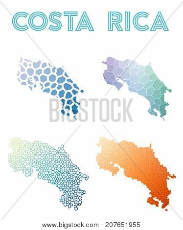 Costa Rica Polygonal Map. Mosaic Style Maps Collection. Bright Abstract Tessellation, Geometric, Low