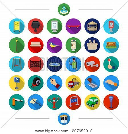 Parking, attributes, tools and other  icon in cartoon style. Transport, rules, traffic, icons in set collection