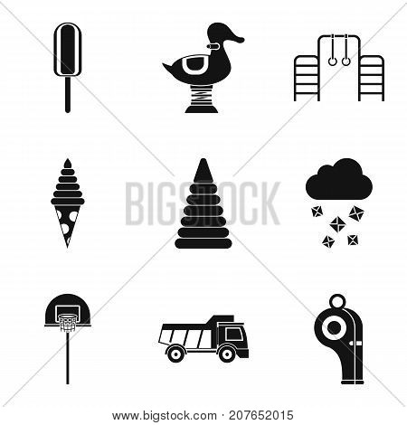 Old children toys icons set. Simple set of 9 old children toys vector icons for web isolated on white background