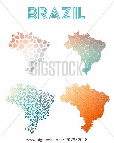 Brazil Polygonal Map. Mosaic Style Maps Collection. Bright Abstract Tessellation, Geometric, Low Pol