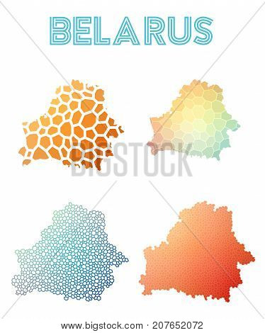 Belarus Polygonal Map. Mosaic Style Maps Collection. Bright Abstract Tessellation, Geometric, Low Po