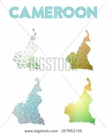 Cameroon Polygonal Map. Mosaic Style Maps Collection. Bright Abstract Tessellation, Geometric, Low P