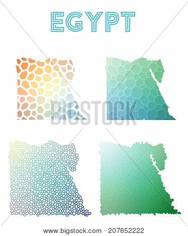 Egypt Polygonal Map. Mosaic Style Maps Collection. Bright Abstract Tessellation, Geometric, Low Poly