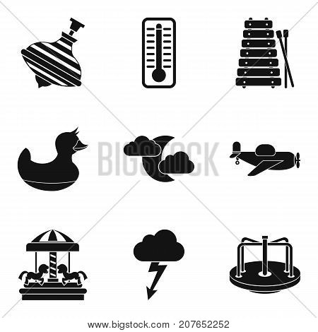 Children park icons set. Simple set of 9 children park vector icons for web isolated on white background