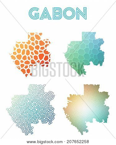 Gabon Polygonal Map. Mosaic Style Maps Collection. Bright Abstract Tessellation, Geometric, Low Poly