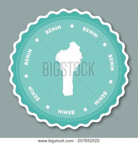 Benin Sticker Flat Design. Round Flat Style Badges Of Trendy Colors With Country Map And Name. Count