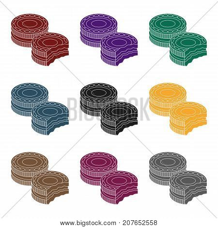 Chocolate sandwich cookies icon in black design isolated on white background. Chocolate desserts symbol stock vector illustration.