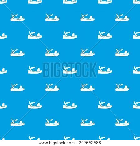 Women sandale pattern repeat seamless in blue color for any design. Vector geometric illustration