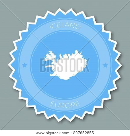 Iceland Badge Flat Design. Round Flat Style Sticker Of Trendy Colors With Country Map And Name. Coun