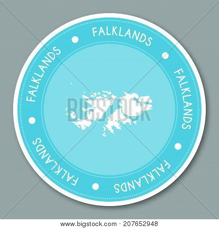 Falkland Islands (malvinas) Label Flat Sticker Design. Patriotic Country Map Round Lable. Country St