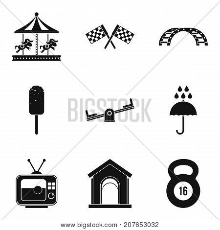 Playing in the yard icons set. Simple set of 9 playing in the yard vector icons for web isolated on white background