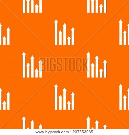 Upside growing arrows pattern repeat seamless in orange color for any design. Vector geometric illustration