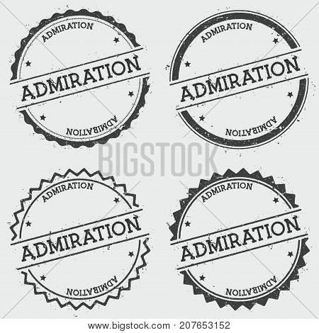 Admiration Insignia Stamp Isolated On White Background. Grunge Round Hipster Seal With Text, Ink Tex