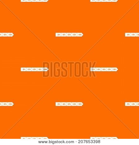 Percentage arrow infographic pattern repeat seamless in orange color for any design. Vector geometric illustration