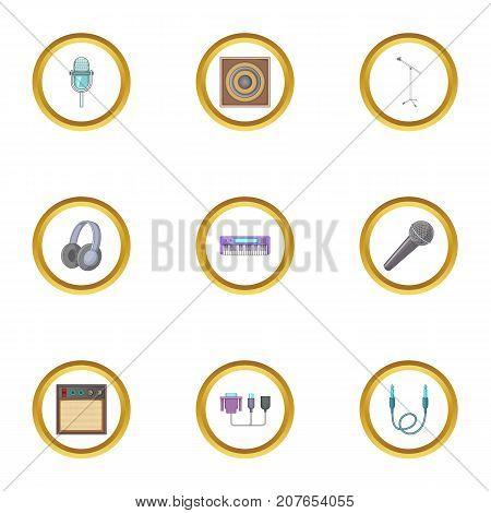 Music studio equipment icons set. Cartoon style set of 9 music studio equipment vector icons for web design